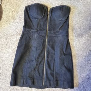 Jessica Simpson Strapless Denim Zipper Dress